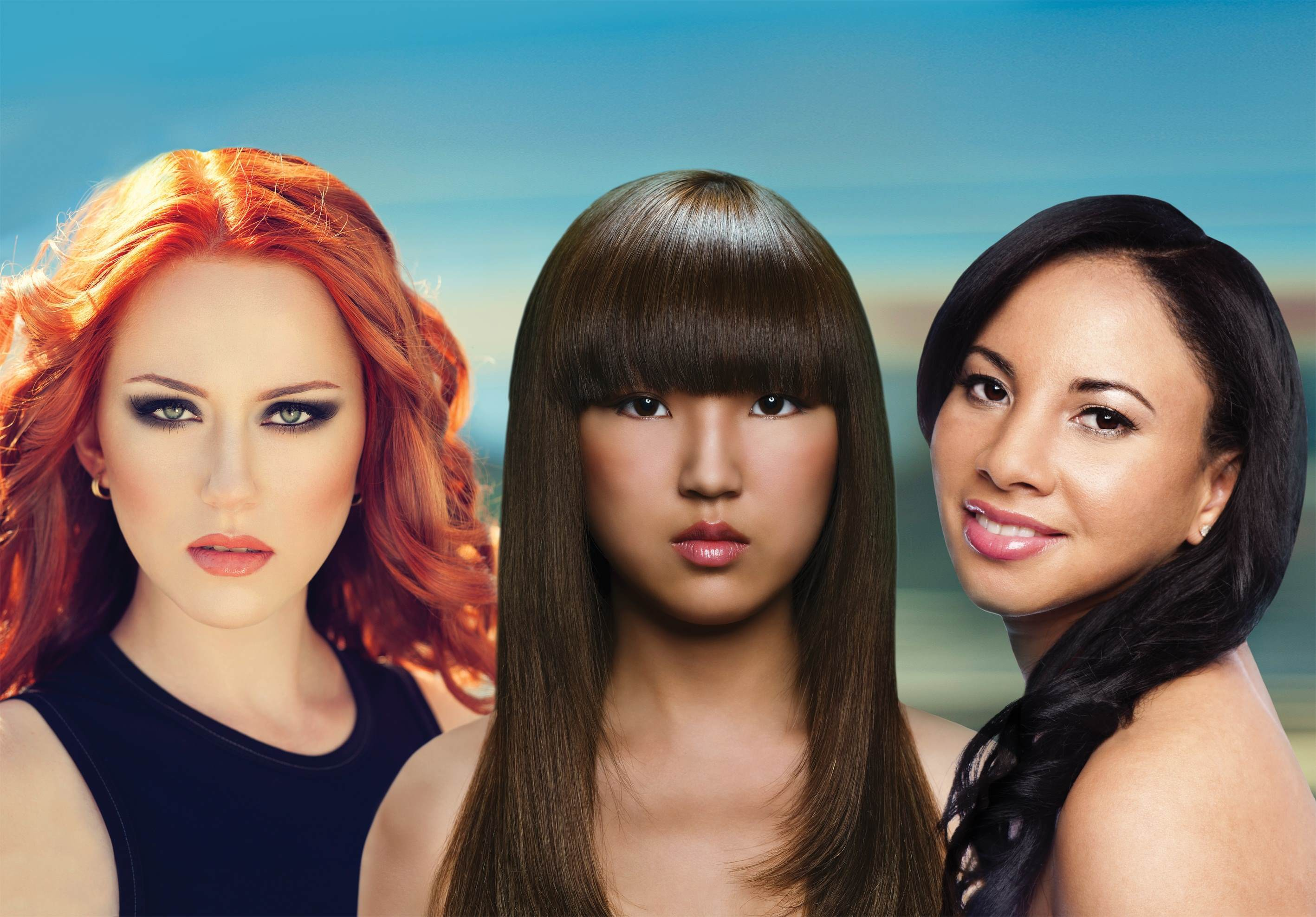 three glamourous women with healthy hair.