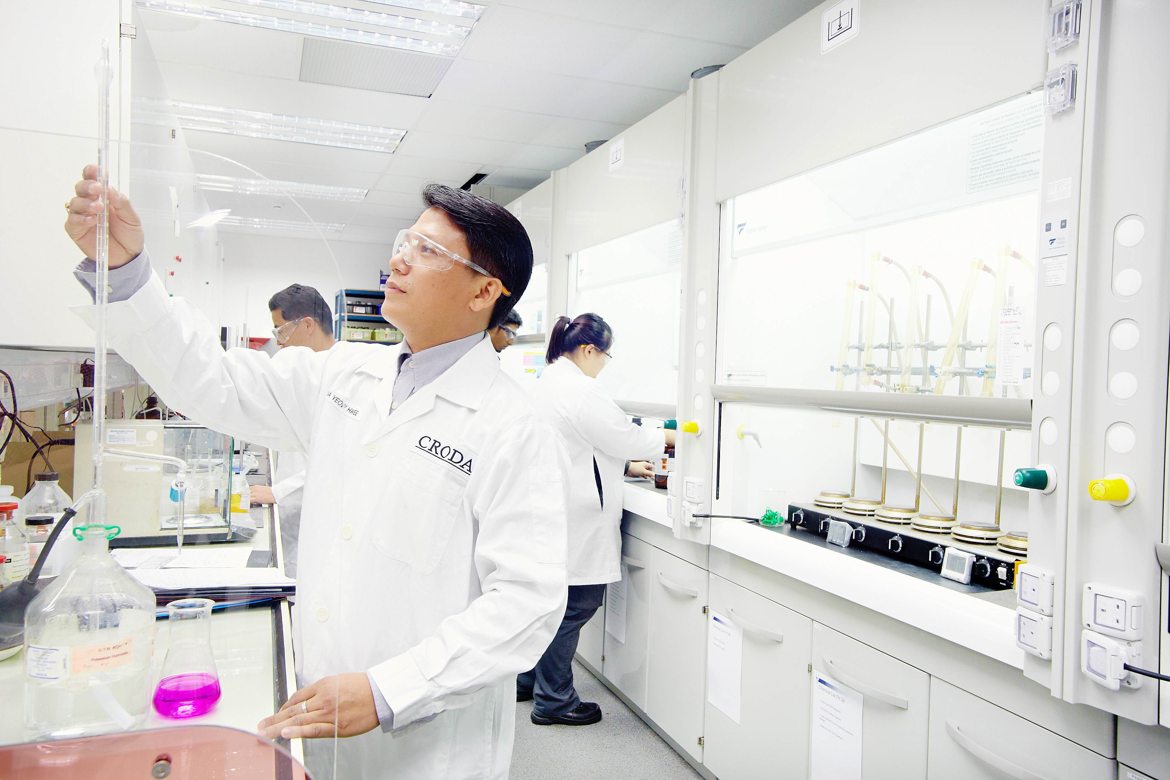 Croda employee working in the lab